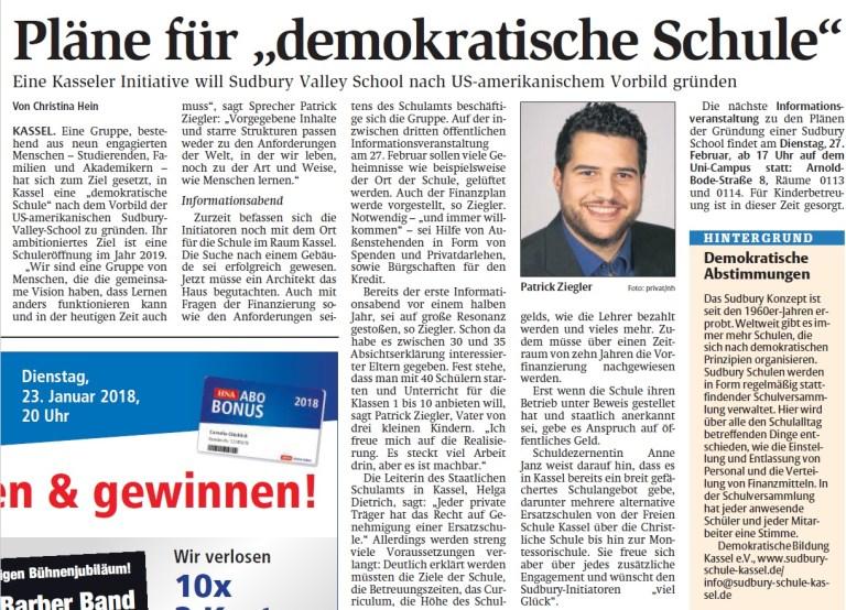 Ein Artikel aus der Hessischen Niedersächsischen Allgemeinen über die Gründungsinitiative